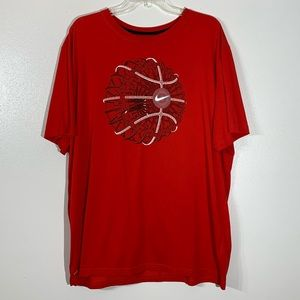 Nike Dri Fit Red Basket Ball Graphic Tee - XXL